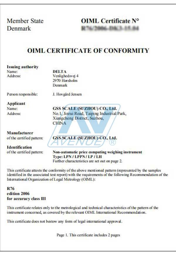 Certificate – Shanghai Avenue Co.,Ltd